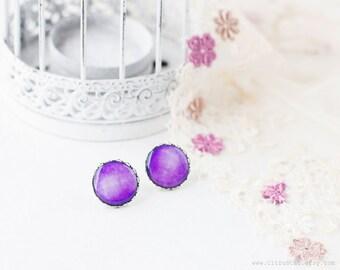 Glossy purple stud earrings, elegant jewelry, bridesmaid earrings, shabby chic jewelry, purple earrings, romantic gift