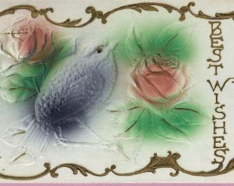 """Ca. 1908 """"Bird & Roses"""" Embossed Victorian Friendship Greetings Postcard - 1342"""