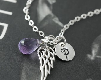Angel necklace, Personalized jewelry, bird wing necklace, initial & birthstone necklace, amethyst gemstone