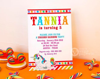 DIY PRINTABLE Invitation Card - Unicorn Rainbow Birthday Party Invitation - E3a