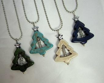 Christmas Tree Necklace Handmade Beaded Jewelry Girls Boys Christmas Tree Necklace Holiday Red Howlite Gemstone Girls Jewelry