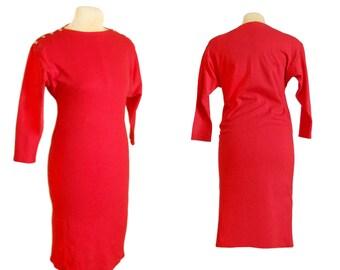 Red Dress Tight Dress Tight Knit Dress 90s Tight Dress 90s Dress Bodycon Dress Red Party Dress Knee Length Dress 90s Party Dress Red Party