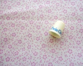 pink on off white floral print vintage cotton fabric -- 45 wide by 2 yards