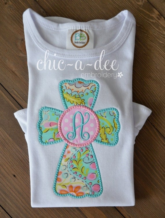 Items similar to personalized paisley initial cross