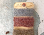 30 yds. of Vintage Wool Yarn/Wrapping/Natural Ribbon/Scrapbooking/Pale Blue/Salmonl/Wheat/Natural Embellishments - MarchHareMade