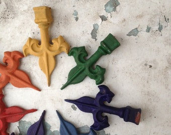 Upcycled Vintage Fence Finials/Cast Iron Finials/Rainbow/Gay Pride/Liberalism/Window Pane Decor/Fleur de lis