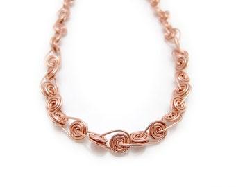 Twisted Copper Necklace - Spiral Copper Necklace - Copper Wire Necklace - Wire Wrapped Copper Necklace - Contemporary Copper Jewelry
