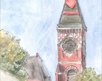 Abbot Hall Color, Marblehead Massachusetts, fine art print, pen and ink wall art, decor, blue, landscape and architecture, landmark, 8.5x11