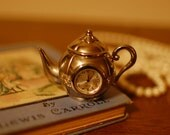Miniature Teapot Clock Tiny Whimsical Alice in Wonderland Collectible Watch Knick-Knack Silver Tea White Rabbit Mad Party