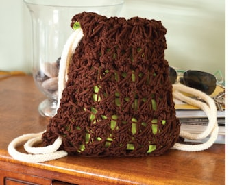 """Knitting PATTERN draw string bag knit and sewn 10"""" tall Broomstick Lace"""