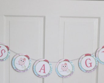 LOOK WHOOO'S... OWL Theme Baby Shower or Happy Birthday Party Banner Blossoms