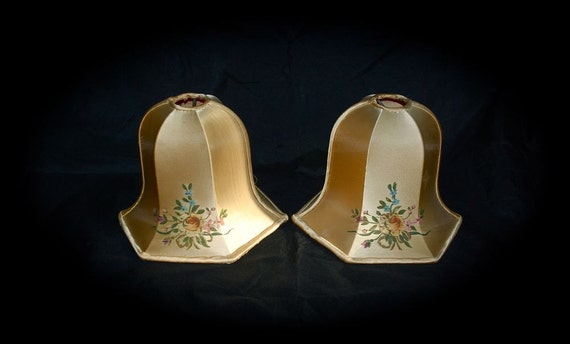 Glorious Satin Lamp Shades Pair Pale Gold with Hand-Painted Flowers1940s