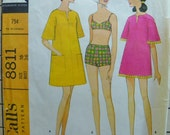 Gidgety Simple Beach cover up with Bathing Suit 1960s McCalls 8811