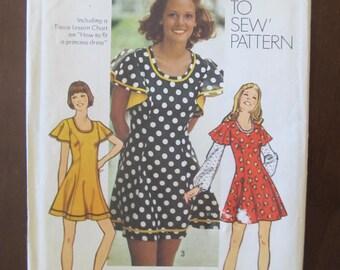 Pretty Princess Mini Dress Pattern 1970's uncut Simplicity 5466