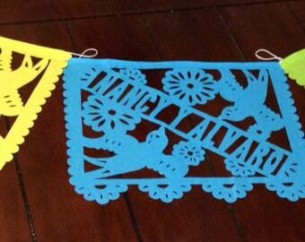 Personalized Papel Picado Wedding Banner - Bride & Groom