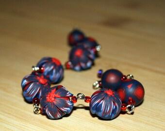 Fire Flower Beads Polymer Clay Bracelet