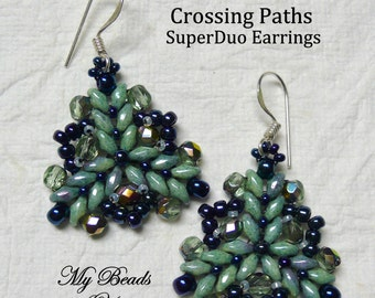 SuperDuo Beadwoven Earrings, Beadwork earrings, Beadwoven Earrings, Beaded Earrings, SuperDuo, Jewelry Gift