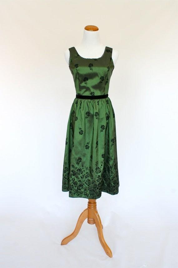 60 S Vintage Style Dress Emerald Green Dress Silk Dress