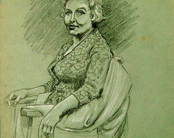 1960s Portrait Sketch Drawing of a Lady Mrs Strather Vintage Chalk and Charcoal Wall Hanging Home Decor