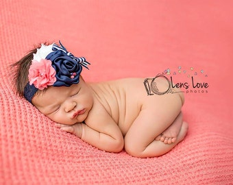 ONLY NAVY SKINNY band available- Coral Pink, Navy and White flower headband, navy nautical headbands, photography prop, coral headbands