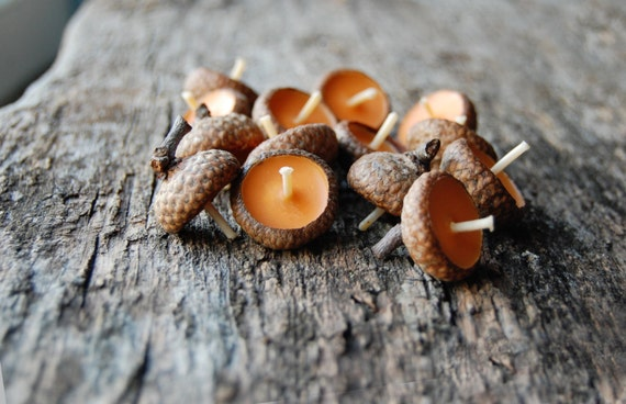 Acorn Cap Candle, Eco Friendly Floating Vanilla Scented Candles, Baby Shower Decor Favors, Rustic Decor, Birthday Candles, Wedding Favors