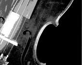 Black and White Photography, Monochromatic, Monochrome, Violin Art, Vintage Violin Photograph, Musical Instrument Photos, Fiddle Photos