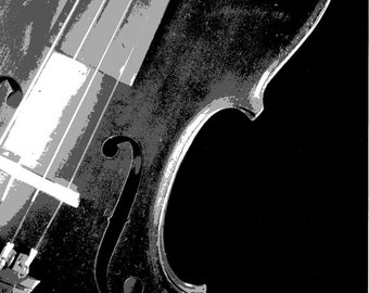 Black and White Photography, Monochromatic, Monochrome, Violin Art, Vintage Violin Photograph, Musical Instrument Photos, Fiddle Photos