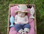 Newborn Fishing Hat & Pants - Photo Prop - Baby Girl