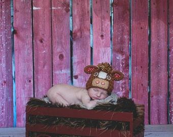 Newborn Horse Hat - Photo Prop - Newborn - Barnyard Cutie