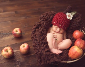 Baby Apple Hat - Fall Autumn Hat- Photography Prop - Baby Girl