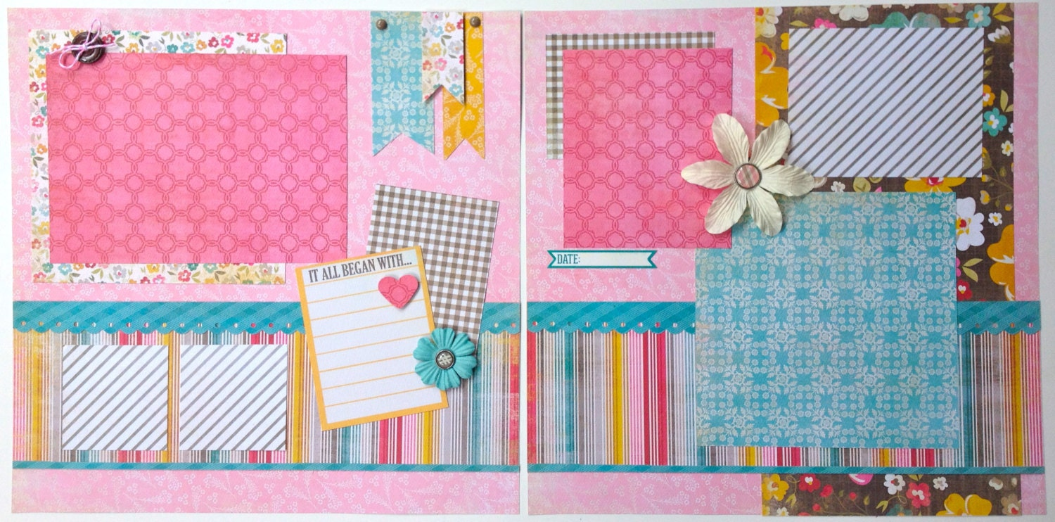 SALE 12x12 Scrapbook Pages For Girl Kit Or Premade 2 Pages