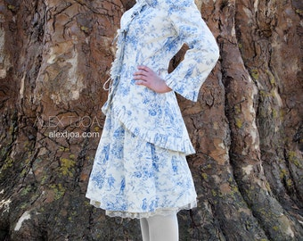Lovely Jacket Bohème from French Toile de Jouy with Ruffles.