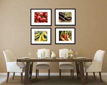 Food Photography - Kitchen Art - Vegetables - Set of Four (4) Vegetable Photos - Fine Art Photography Prints - Kitchen/Dining Room Decor