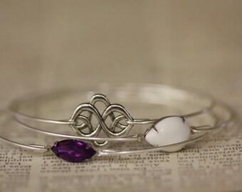Silver Bracelet, Silver Bangle, Infinity Bracelet , Stackable, Celtic Knot Bracelet,Milk stone, Purple Crystal