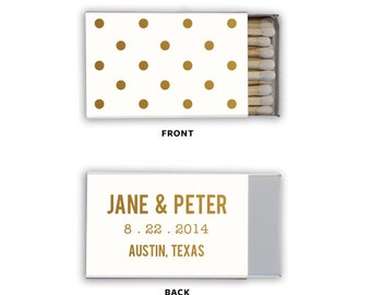 Polka Dot Empty Matchboxes Wedding Favors - Foil Stamped Personalized Matches Bridal - International Shipping - Can be Personalized