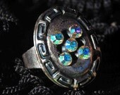 RING with Swarovski Crystals, Stunning, Oval, Silver, Stylish, Adjustable, Elegant, Chic