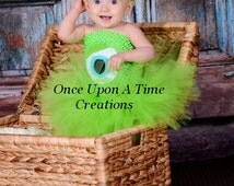 Ready To Ship - Little Green Monster Tutu Dress - Birthday Outfit Halloween Costume Baby Girl 3 6 9 12 Months 2T 3T 4T 5T  - Green One Eyed