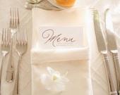 Custom Wedding Menu, Tea Length