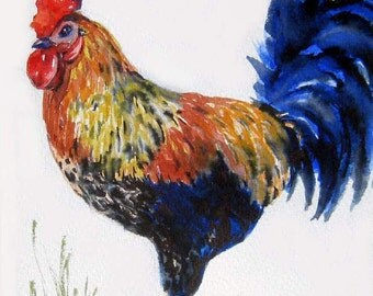 King of the Barnyard - art print - rooster watercolor painting - kitchen decor