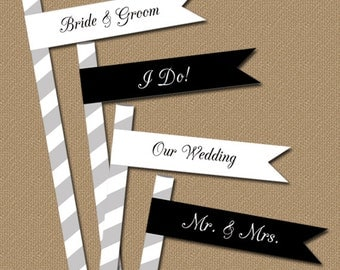 INSTANT DOWNLOAD Wedding Black and White Straw Flags / Modern Printable DIY Flags / Bridal Shower