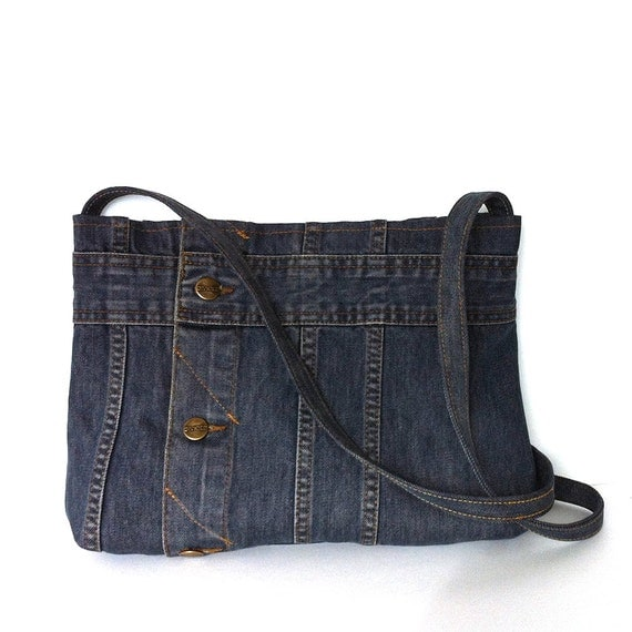 Recycled clothing denim cross body bag upcycled jean