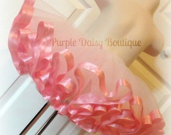 Light Pink Satin Trim Tutu - Full and Beautiful, Perfect for Pictures