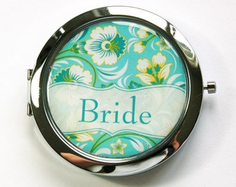 Flower compact mirror, Bride mirror, Personalized, you select color, bridesmaid gift, customizable, compact mirror, wedding party (2893)