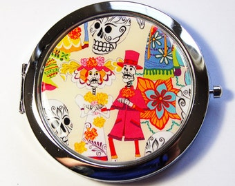 Day of the Dead, compact mirror, mirror, purse mirror, Pocket mirror, Sugar Skulls, Day of the Dead Mirror, Sugar Skull Mirror  (2907)