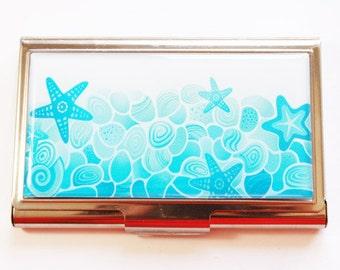 Business Card Case, Beach card case, Card case, business card holder, card case for her, Starfish, Shells, blue (3008)