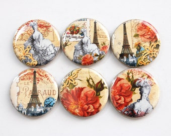 Paris Magnets, Marie Antoinette, Paris, Eiffel Tower, button magnets, Kitchen Magnets, stocking stuffer (3382)