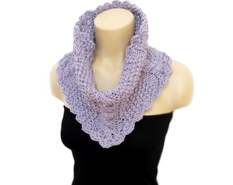 Cable Knit Scarf,  Infinity Scarf, Chunky Circle Infinity Scarf, Lilac, Knit Cowl, Chunky Knitted Cowl in Blue