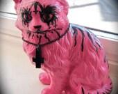 Pink Vintage Black Metal Evil Cat Figurine