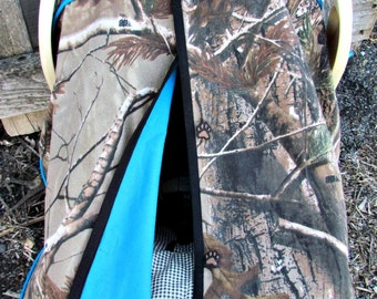 Camo Car Seat Canopy in Realtree Xtra Camouflage and Turquoise /Baby Carseat Canopy / Infant Carseat Canopy Cover / My Baby Blind