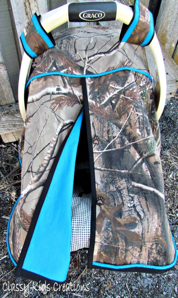 Camo Car Seat Canopy In Realtree Xtra Camouflage And Turquoise